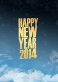 Effetto delle luci del testo del nuovo anno 2014 Fotografia Stock Libera da Diritti