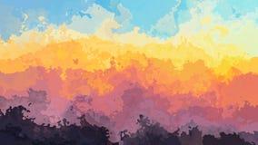 Effetto dello splotch dell'acquerello - spettro di colori di tramonto - azzurri gialli arancio viola porpora illustrazione vettoriale