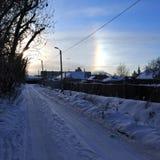 Effetto di alone del sole nella regione di sud-Ural, Russia Fotografie Stock