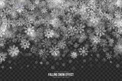 Effetto di caduta della neve 3D di vettore Fotografie Stock Libere da Diritti
