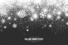 Effetto di caduta della neve sul vettore trasparente del fondo Fotografia Stock