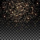 Effetto di fondo delle particelle di scintillio dell'oro di vettore per la carta di lusso dei ricchi di saluto Struttura scintill Immagine Stock