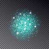 Effetto di fondo leggero d'ardore blu di scintillio Sparkli magico di incandescenza Immagini Stock