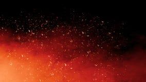 Effetto di fuoco isolato realistico con fumo per la decorazione e la copertura su fondo nero Il concetto della particella, scinti immagini stock