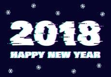 Effetto di impulso errato del testo del nuovo anno 2017 Fotografia Stock