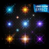 Effetto di incandescenza della lente Abbagliamento leggero d'ardore, effetti della luce realistici luminosi su un fondo trasparen Fotografie Stock