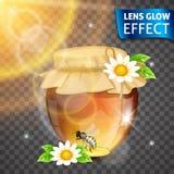Effetto di incandescenza della lente Miele, banca del miele, fiori, ape, effetto d'ardore del sole Luci intense, abbagliamento, e Fotografie Stock Libere da Diritti