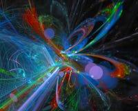 Effetto digitale astratto, moto luminoso di immaginazione di festival, cosmico, frattale di caos illustrazione di stock