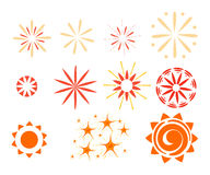 Effetto isolato su fondo bianco Scintille, starbursts e fuochi d'artificio Fotografie Stock