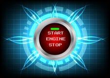 Effetto moderno del pulsante di avvio e della luce del motore di tecnologia sulla b blu Immagine Stock