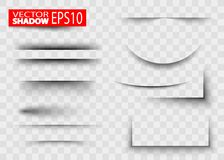 Effetto ombra di carta dello strato Insieme di carta realistico trasparente di effetto ombra Fotografia Stock Libera da Diritti