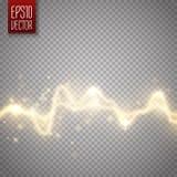 Effetto repulsivo astratto dorato di energia Scarica elettrica isolata su trasparente Fotografia Stock