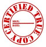 Effetto rosso certificato del bollo della vera copia Fotografia Stock