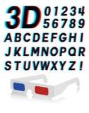 Effetto stereoscopico 3d della fonte di vetro Fotografie Stock
