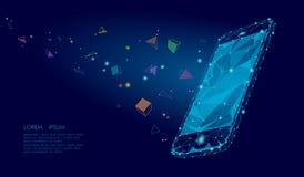 Effetto visivo di mente di immaginazione di realtà virtuale mobile dello smartphone 3d del libro elettronico Poli forme geometric illustrazione di stock
