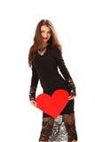 Efficace giovane donna in un vestito nero Fotografie Stock Libere da Diritti