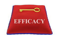 Efficacy concept. 3D illustration of EFFICACY Title on red velvet pillow near a golden key, isolated on white Stock Photography