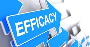 Efficacy - Inscription on Blue Pointer. 3D. Stock Image