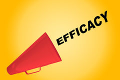 Efficacy - performance concept. 3D illustration of EFFICACY title flowing from a loudspeaker Stock Images