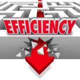 Efficiency Arrow Breaking Barriers Better Effective Results. Efficiency word on a maze with an arrow breaking through walls and barriers to illustrate the best vector illustration