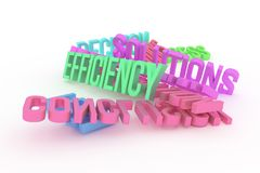 Efficiency, business conceptual colorful 3D rendered words. Alphabet, backdrop, caption & message. Efficiency, business conceptual colorful 3D rendered words stock illustration