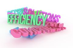 Efficiency, business conceptual colorful 3D rendered words. Alphabet, text, positive & illustration. Efficiency, business conceptual colorful 3D rendered words royalty free illustration