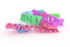 Efficiency, business conceptual colorful 3D rendered words. Caption, artwork, digital & cgi. Efficiency, business conceptual colorful 3D rendered words royalty free illustration