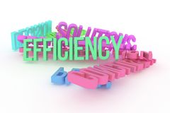 Efficiency, business conceptual colorful 3D rendered words. Digital, typography, positive & style. Efficiency, business conceptual colorful 3D rendered words vector illustration