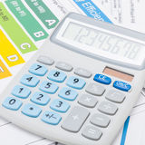 Efficiency chart and calculator - close up shot Royalty Free Stock Photography