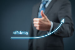 Efficiency increase. Concept. Businessman is satisfied with company efficiency growth Royalty Free Stock Photo