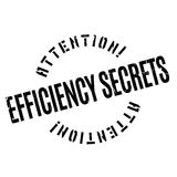 Efficiency Secrets rubber stamp. Grunge design with dust scratches. Effects can be easily removed for a clean, crisp look. Color is easily changed Stock Photos