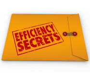 Efficiency Secrets Yellow Classified Envelope Confidential Tips royalty free illustration