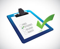 Efficiency selection on a clipboard. illustration. Design over a white background Royalty Free Stock Photo