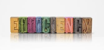 Efficiency Word Block Letters on Isolated White Background Royalty Free Stock Photos