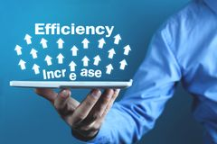 Efficiencyverhoging Ontwikkeling en de groei Bedrijfs concept stock foto