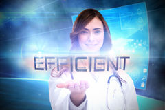 Efficient against futuristic technology interface Stock Images