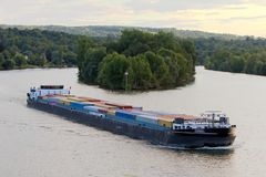 Efficient and eco-responsible supply using barges and river royalty free stock photography
