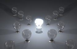 Efficient energy. New ideas. A lit up compact fluorescent light bulb Stock Illustration