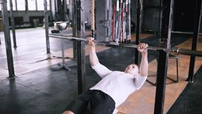 Efficient incline pull-ups to be fit stock video