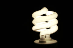 Efficient Light. A closeup of an energy saver compact flourescent light bulb Stock Images