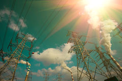 Efficient power transmission tower. Of sky background stock photos