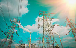 Efficient power transmission tower. Of sky background stock image