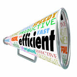 Efficient Productive Bullhorn Megaphone Effective Organized. Efficient word on a bullhorn or megaphone to illustrate an effective worker or organized person Royalty Free Stock Photos