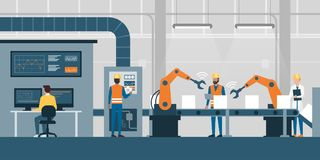 Smart factory and production line. Efficient smart factory with workers, robots and assembly line, industry 4.0 and technology concept vector illustration