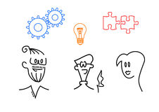 Efficient teamwork. A illustration of a young creative team: Brainstorming, discussion, ideas vector illustration