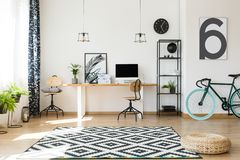 Efficient Work Area With Bike Stock Images