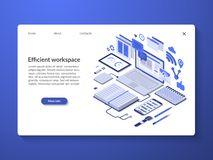 Efficient workspace, workflow organization concept stock illustration