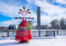 Effigie de Shrovetide le jour ensoleillé d'hiver Photographie stock libre de droits