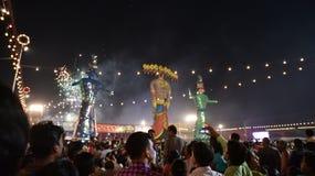 Effigies énormes du Roi Ravana, son fils Megnath et frère Kumbhkarana (voyous de Ramayana épique mythologique indou) Photos libres de droits