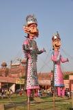 Effigies énormes du Roi Ravana, son fils Megnath et frère Kumbhkarana (voyous de Ramayana épique mythologique indou) Image libre de droits